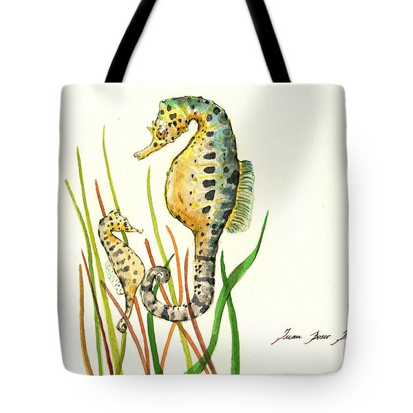 Seahorse Mom And Baby Tote Bag