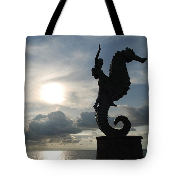 Seahorse Silhouette Tote Bag