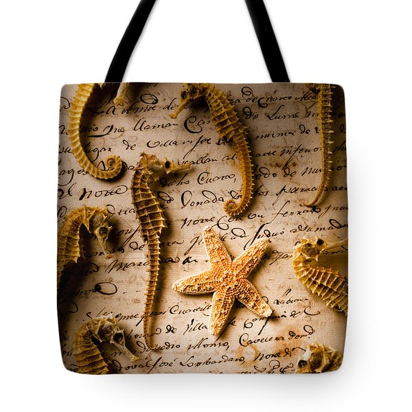 Seahorses And Starfish On Old Letter Tote Bag by Garry Gay
