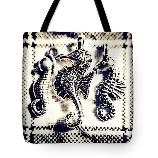 Seahorses In Blue Tote Bag