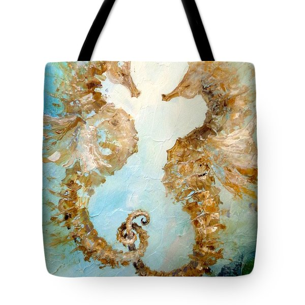 Tote Bag featuring the painting Seahorses In Love 2016 by Dina Dargo