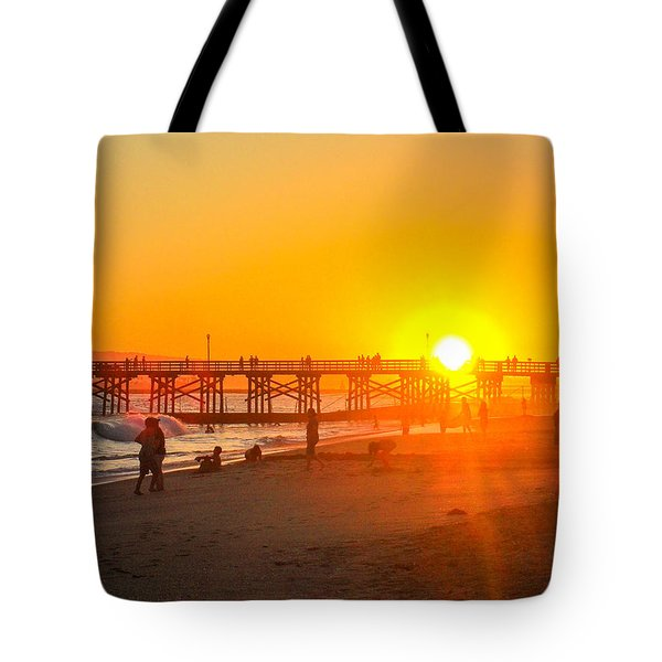 Seal Beach Pier Sunset Tote Bag by Mark Barclay
