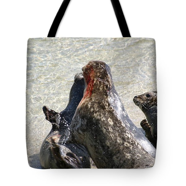 Seal Fight Tote Bag by Anthony Jones