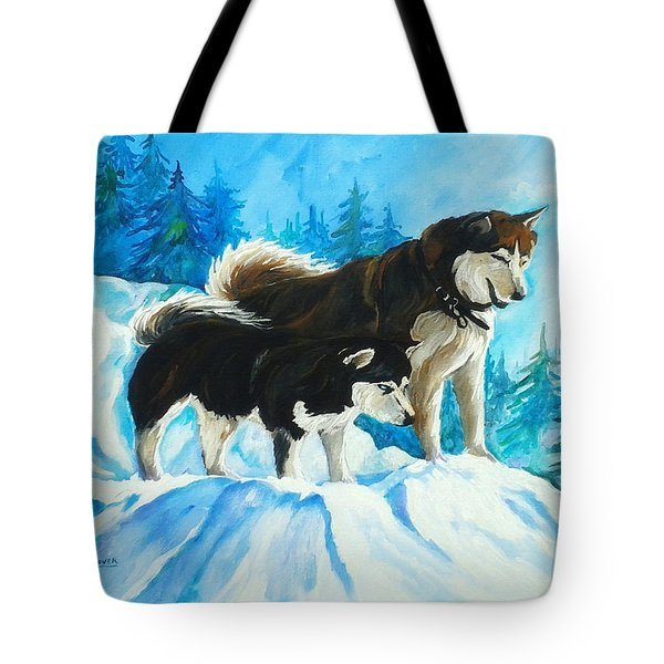 Searching Huskies Tote Bag by Marla Hoover