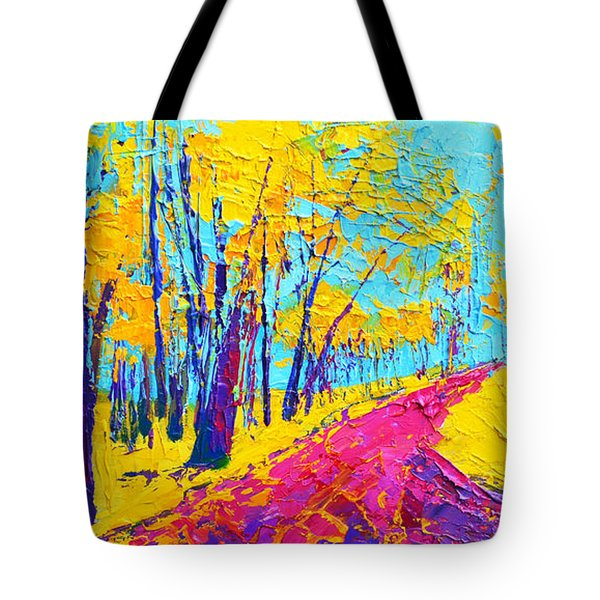 Tote Bag featuring the painting Searching Within 2 Enchanted Forest Series - Modern Impressionist Landscape Painting Palette Knife by Patricia Awapara