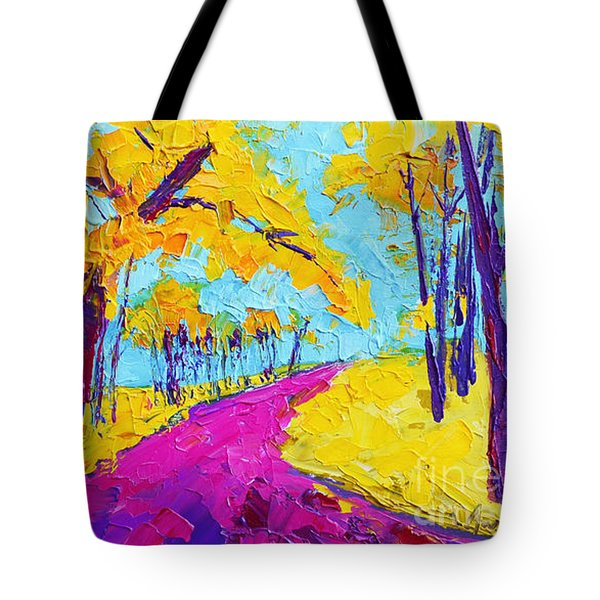 Searching Within - Enchanted Forest Collection - Modern Impressionist Landscape Art - Palette Knife Tote Bag