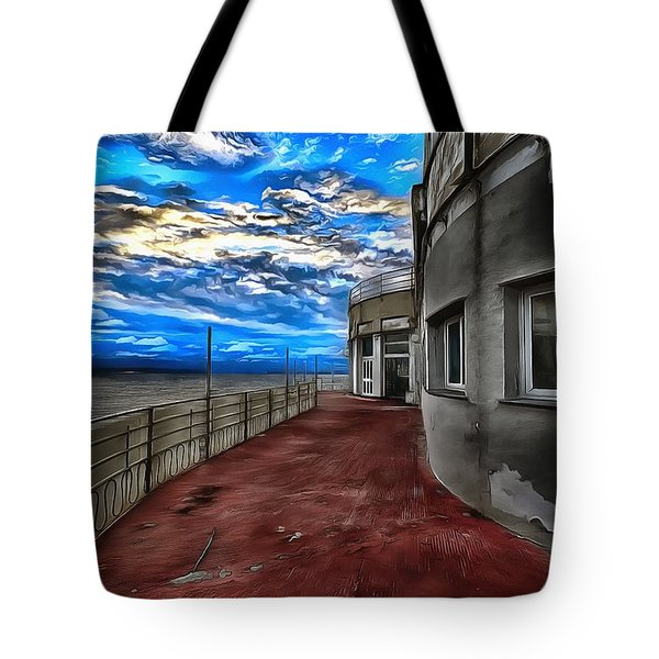 Tote Bag featuring the painting Seascape Atmosphere - Atmosfera Di Mare Dig Paint Version by Enrico Pelos