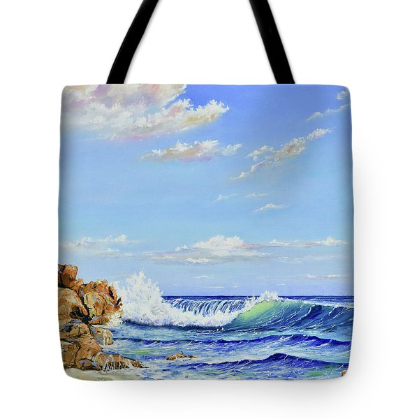 Tote Bag featuring the painting Seascape Beach by Mary Scott