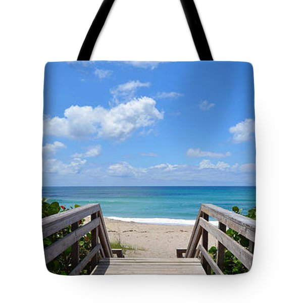 Seascape  Boardwalks Treasure Coast Florida Collage 1 Tote Bag
