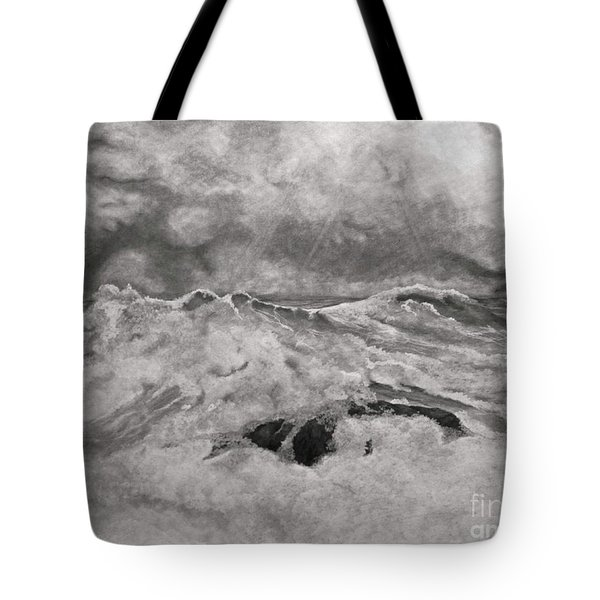 Tote Bag featuring the drawing Seascape In Graphite by John Stuart Webbstock