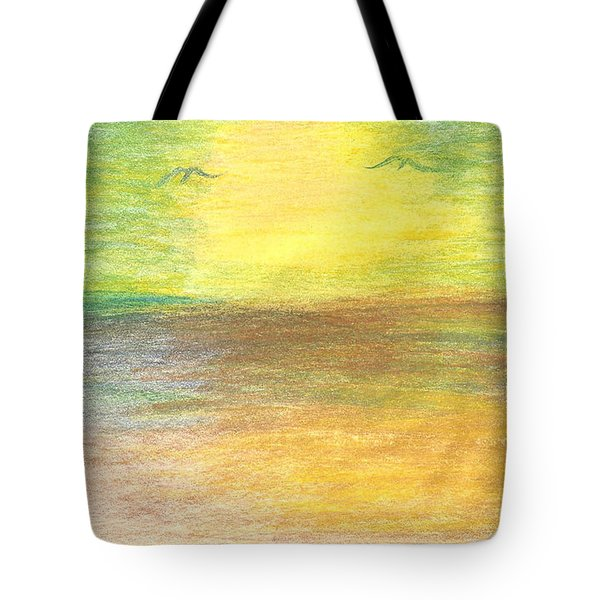 Tote Bag featuring the drawing Seascape by Karen Nicholson