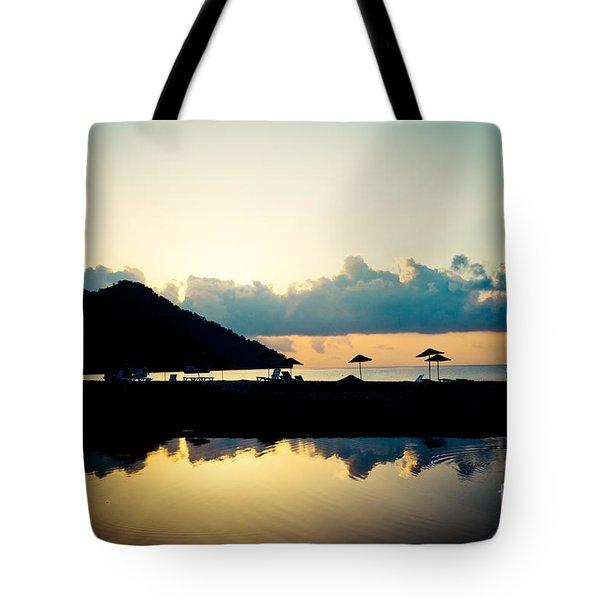 Seascape Sunrise Sea And Clouds  Tote Bag