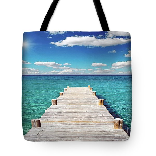 Seascape Sunrise Treasure Coast Florida Pier C6 Tote Bag