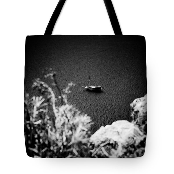 Seascape With Boat Artmif.lv Balck And White Tote Bag