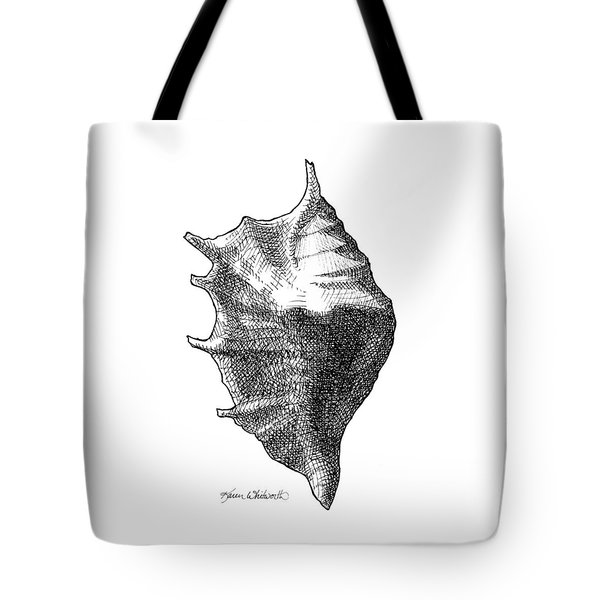 Tote Bag featuring the drawing Seashell 1 - Nautical Beach Drawing by Karen Whitworth