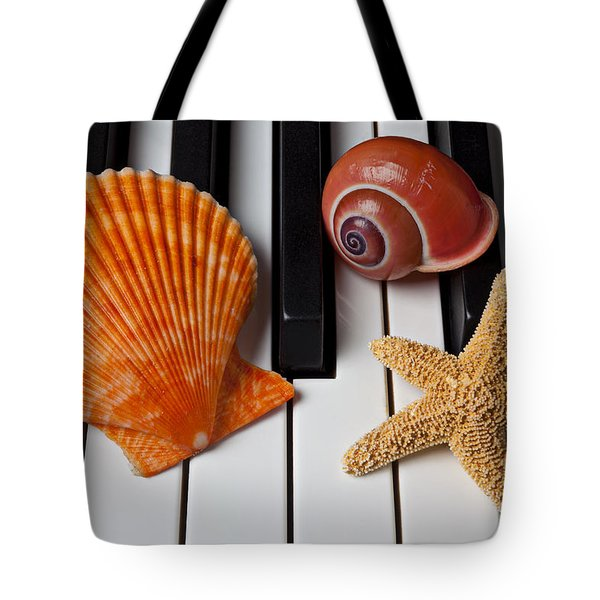 Seashell And Starfish On Piano Tote Bag by Garry Gay