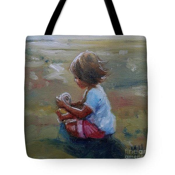 Seashell Contemplation Little Girl Beach Shell Tote Bag