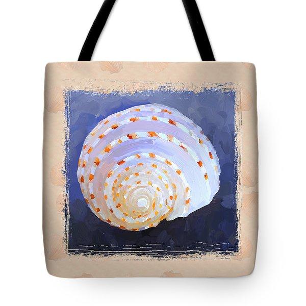 Seashell Iv Grunge With Border Tote Bag by Jai Johnson