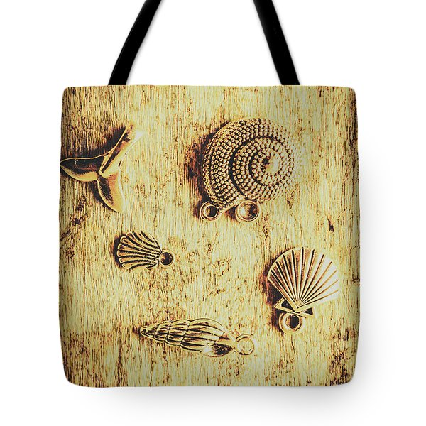 Seashell Shaped Pendants On Wooden Background Tote Bag