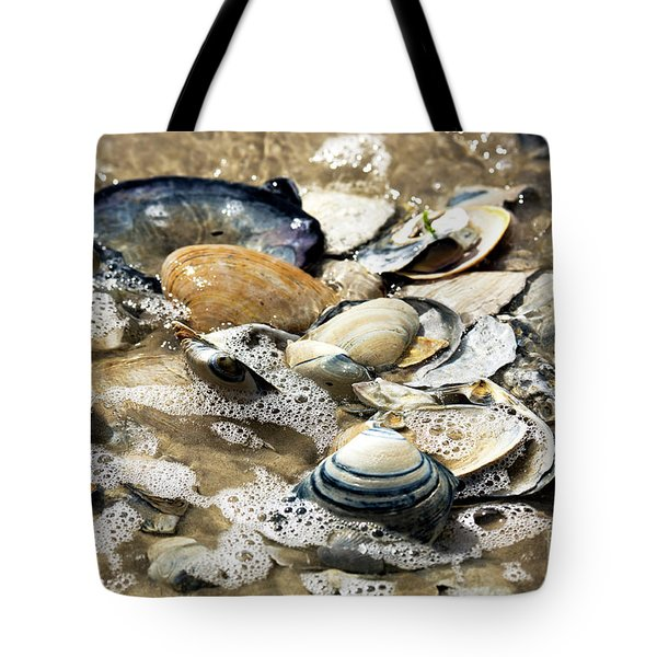 Tote Bag featuring the photograph Seashells In The Ocean by John Rizzuto