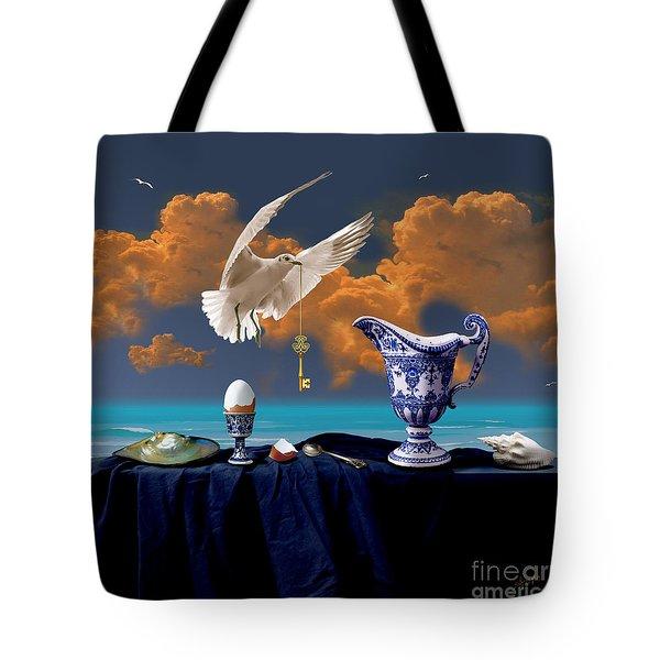 Tote Bag featuring the digital art Seaside Breakfast by Alexa Szlavics