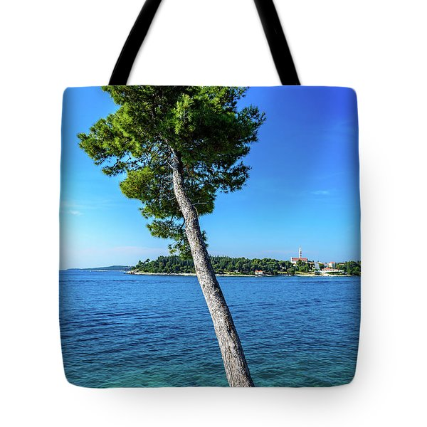 Seaside Leaning Tree In Rovinj, Croatia Tote Bag