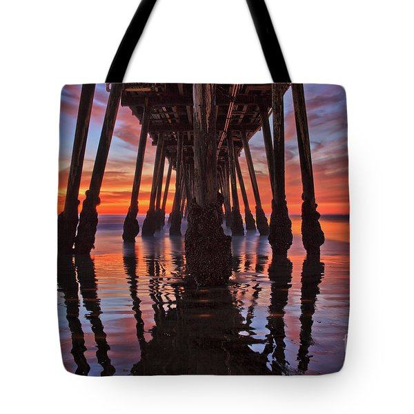 Seaside Reflections Under The Imperial Beach Pier Tote Bag