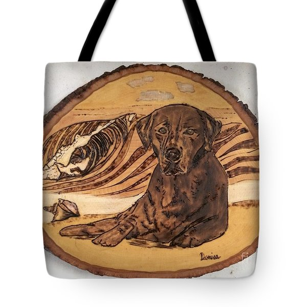 Tote Bag featuring the pyrography Seaside Sam by Denise Tomasura