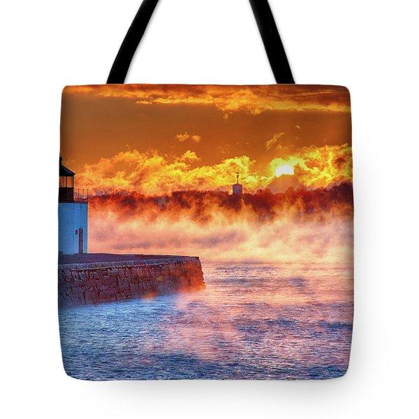Seasmoke At Salem Lighthouse Tote Bag