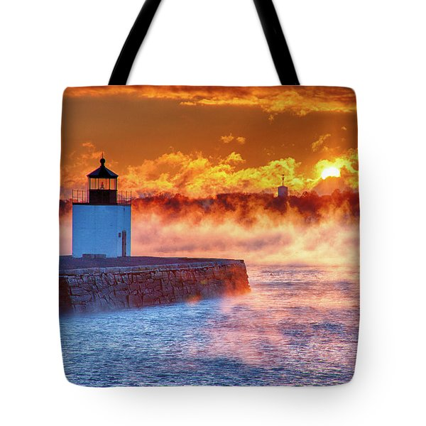 Tote Bag featuring the photograph Seasmoke At Salem Lighthouse by Jeff Folger