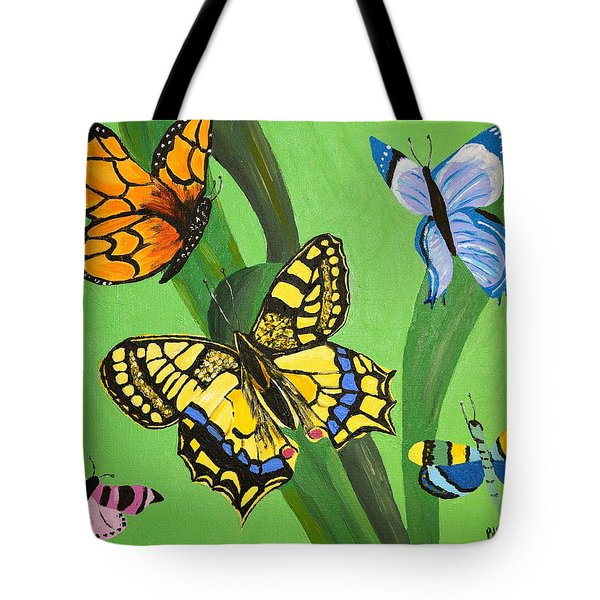 Tote Bag featuring the painting Season Of Butterflies by Donna Blossom