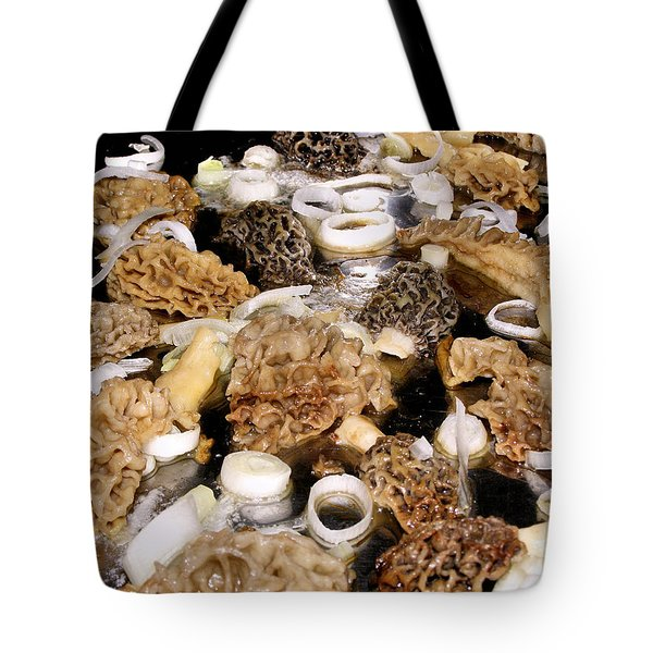 Season's First - Morel Mushrooms Tote Bag by Angie Rea