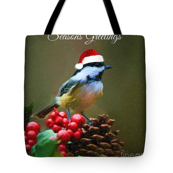 Seasons Greetings Chickadee Tote Bag by Tina LeCour