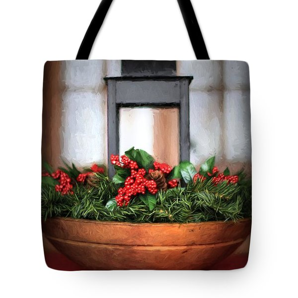 Tote Bag featuring the photograph Seasons Greetings Christmas Centerpiece by Shelley Neff