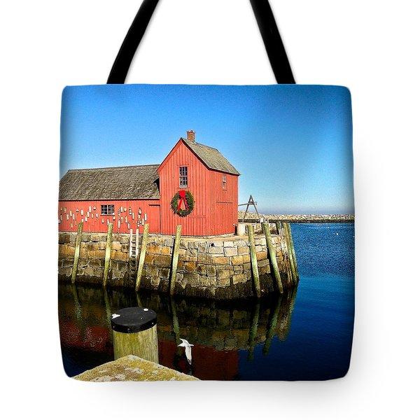 Season's Greetings Rockport Ma Tote Bag