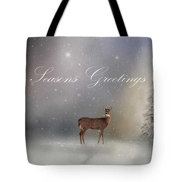 Seasons Greetings With Deer Tote Bag by Ann Bridges