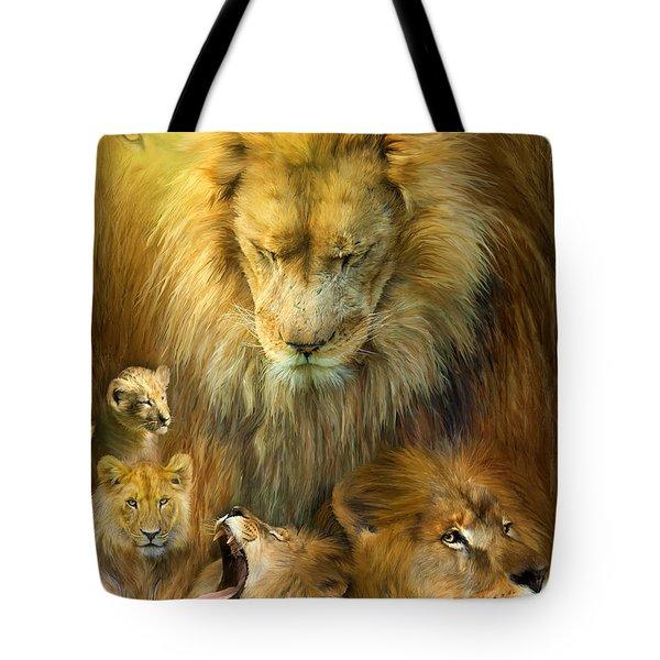 Seasons Of The Lion Tote Bag by Carol Cavalaris
