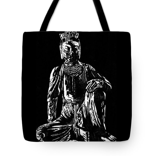 Tote Bag featuring the drawing Seated Buddha by Ashley Kujan