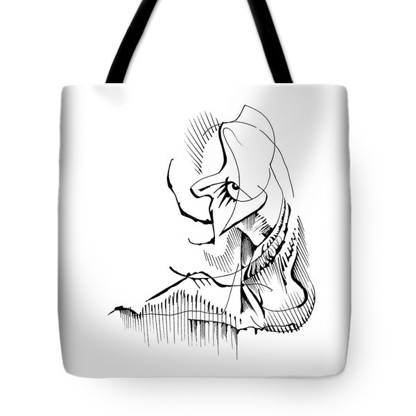 Tote Bag featuring the drawing Seated Ennui by Keith A Link