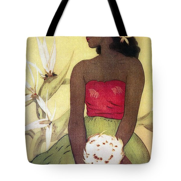 Seated Hula Dancer Tote Bag by Hawaiian Legacy Archives - Printscapes