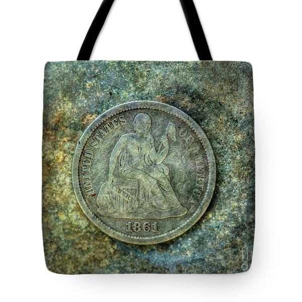 Tote Bag featuring the digital art Seated Libery Dime Coin Obverse by Randy Steele