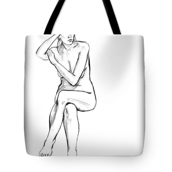 Seated Nude Woman Tote Bag by Adam Long