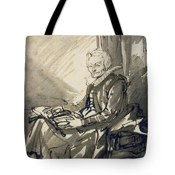 Seated Woman With An Open Book On Her Lap Tote Bag
