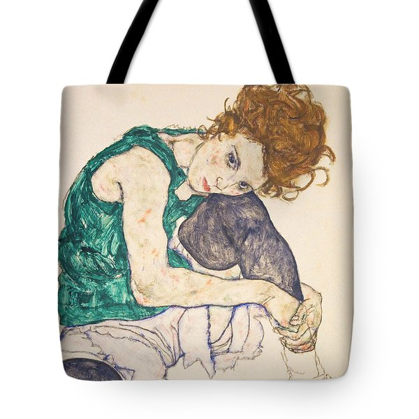 Seated Woman With Legs Drawn Up Tote Bag