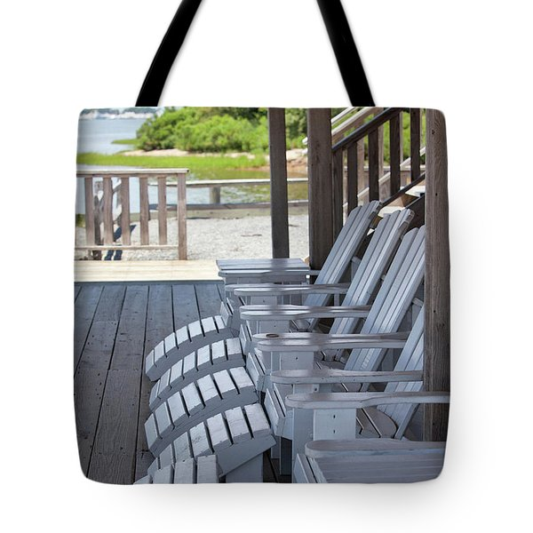 Tote Bag featuring the photograph Seating By The Sea - Montauk by Art Block Collections