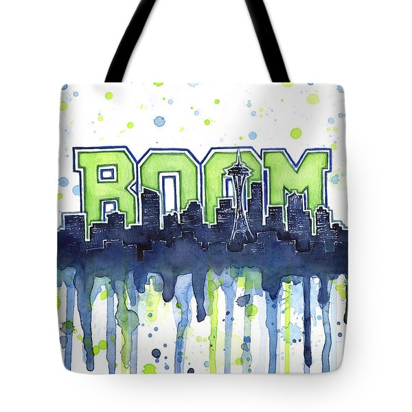 Seattle 12th Man Legion Of Boom Watercolor Tote Bag by Olga Shvartsur