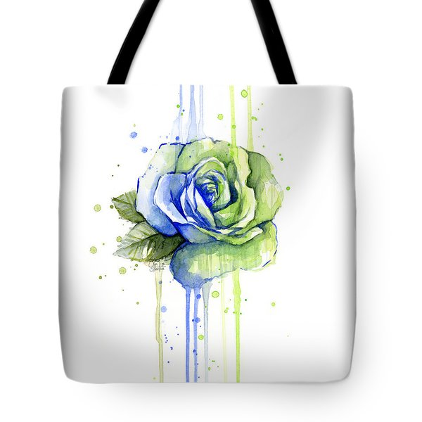 Seattle 12th Man Seahawks Watercolor Rose Tote Bag by Olga Shvartsur