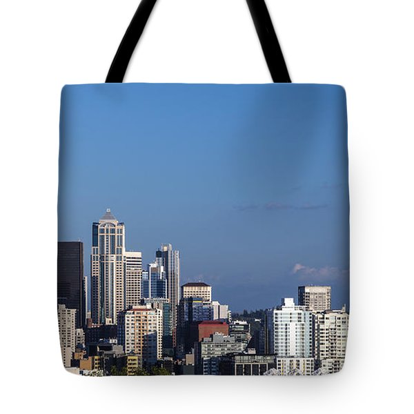 Seattle And Mt Rainier Tote Bag by Ed Clark
