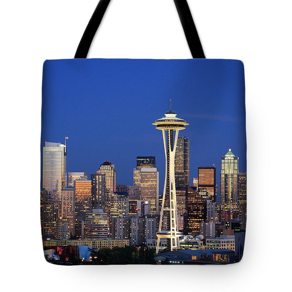 Seattle At Dusk Tote Bag by Adam Romanowicz