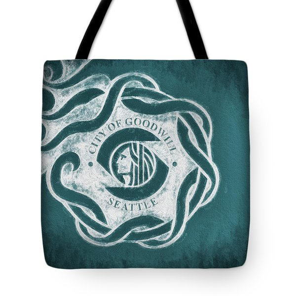 Tote Bag featuring the digital art Seattle City Flag by JC Findley